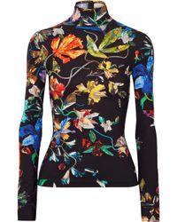 Mugler - Floral-print Stretch-jersey Turtleneck Top - Lyst