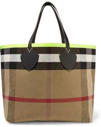 Burberry - Reversible Leather-trimmed Checked Canvas Tote - Lyst