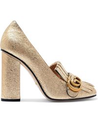 Gucci | Marmont Fringed Metallic Cracked-leather Pumps | Lyst