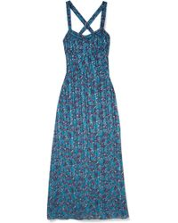 Anna Sui - Incense And Joy Printed Silk-jacquard Maxi Dress - Lyst