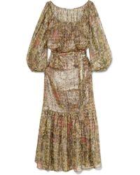 Mes Demoiselles - Printed Metallic Silk-blend Chiffon Maxi Dress - Lyst