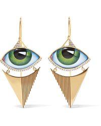Lito - Tu Es Partout 14-karat Gold, Enamel And Diamond Earrings - Lyst