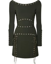 Elie Saab - Eyelet-embellished Stretch-knit Mini Dress - Lyst