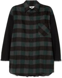 MM6 by Maison Martin Margiela - Oversized Checked Cotton-flannel Mini Dress - Lyst