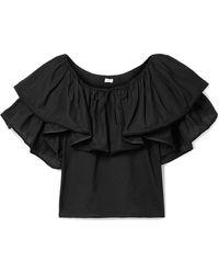 Rhode Resort - Blanca Off-the-shoulder Ruffled Cotton-voile Top - Lyst