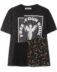 McQ - Patchwork Printed Cotton-jersey And Crepe De Chine T-shirt - Lyst
