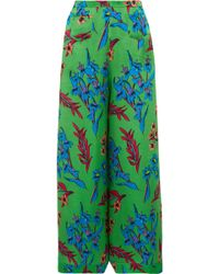 Etro - Floral-print Hammered Silk-satin Wide-leg Trousers - Lyst