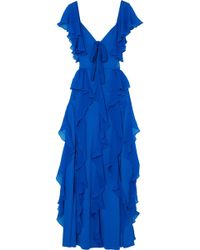 Elie Saab - Ruffled Georgette And Lace Gown - Lyst