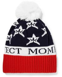 Perfect Moment - Star Pompom-embellished Intarsia Wool-blend Beanie - Lyst