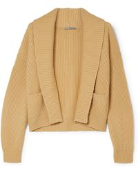 Vince - Cropped Ribbed Wool And Cashmere-blend Cardigan - Lyst