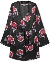 Morgan Lane - Langley Floral-print Satin Robe - Lyst