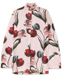 Mother Of Pearl - Dellar Floral-print Silk-satin Blouse - Lyst