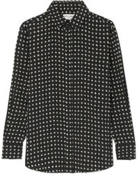 Saint Laurent - Tie Blouse With Star Print In Black - Lyst