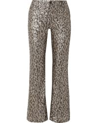 Anna Sui - Twinkling Stars At Night Sequined Mesh Wide-leg Trousers - Lyst