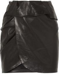 IRO - Andice Ruffled Wrap-effect Leather Mini Skirt - Lyst