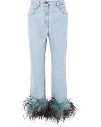 Prada - Feather Hem Jeans - Lyst