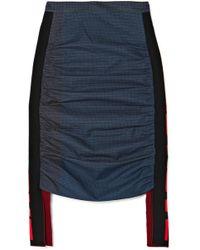 Stella McCartney - Jersey-paneled Checked Cotton Midi Skirt - Lyst