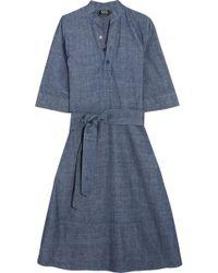 A.P.C. - Oleson Cotton-chambray Midi Dress - Lyst