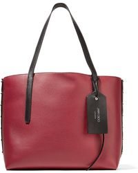 Jimmy Choo - Twist East West Color-block Textured-leather Tote - Lyst