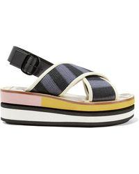 Marni - Leather-trimmed Woven Canvas Platform Slingback Sandals - Lyst