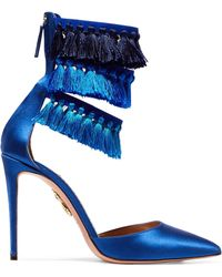 Aquazzura - Claudia Schiffer Loulou's Tasseled Satin Pumps - Lyst