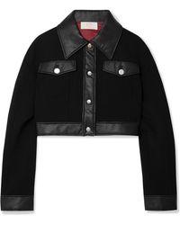 Sara Battaglia - Leather Trim Cropped Jacket - Lyst