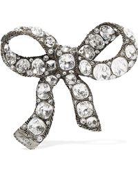 Gucci - Silver-plated Crystal Brooch - Lyst