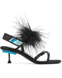 Prada - Feather-embellished Satin Sandals - Lyst