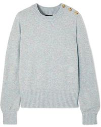 J.Crew Button-detailed Mélange Knitted Jumper - Gray