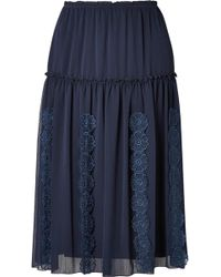 See By Chloé - Appliquéd Tiered Crepe Skirt - Lyst