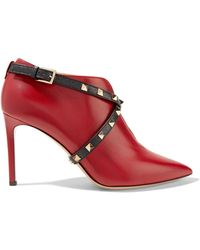 Valentino - Rockstud-trimmed Wrap-effect Leather Boots - Lyst