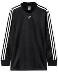 adidas Originals - Striped Satin-jersey Top - Lyst