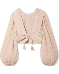 Zimmermann - Bayou Tie-front Crinkled Ramie And Cotton-blend Top - Lyst