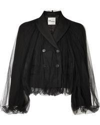 Noir Kei Ninomiya - Cropped Wool And Tulle Blazer - Lyst