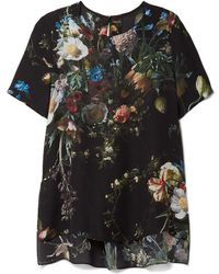 Adam Lippes - Pleated Floral-print Silk Crepe De Chine Top - Lyst