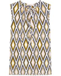 Tory Burch - Jess Pussy-bow Printed Silk Crepe De Chine Top - Lyst