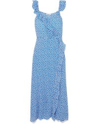 Madewell - Ruffled Floral-print Crepe De Chine Dress - Lyst