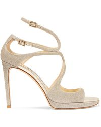 Jimmy Choo - Lance 100 Glittered Leather Platform Sandals - Lyst
