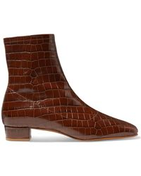 BY FAR - Este Croc-effect Leather Ankle Boots - Lyst