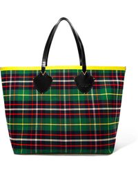 Burberry - Reversible Leather-trimmed Tartan Cotton-twill Tote - Lyst