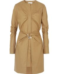 Carven - Pearl-embellished Ruched Cotton Mini Dress - Lyst