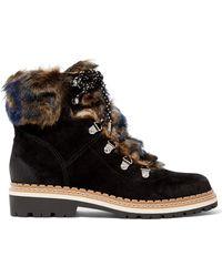 Sam Edelman - Bronte Faux Shearling-trimmed Suede Ankle Boots - Lyst