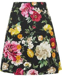 Dolce & Gabbana - Button-detailed Floral-jacquard Mini Skirt - Lyst
