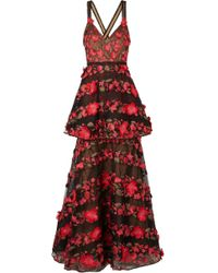 Marchesa notte - Embroidered Point D'esprit Tulle Gown - Lyst