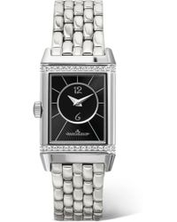 Jaeger-lecoultre - Reverso Classic Duetto Small Stainless Steel And Diamond Watch - Lyst