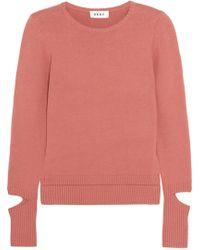 DKNY - Cutout Cotton-blend Sweater - Lyst