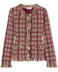 Etro - Frayed Metallic Cotton-blend Tweed Jacket - Lyst