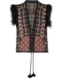 Etro - Faux Fur-trimmed Jacquard-knit Vest - Lyst
