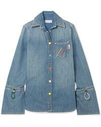 Mira Mikati - Embroidered Denim Shirt - Lyst
