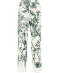 F.R.S For Restless Sleepers - Etere Printed Cotton And Silk-blend Twill Straight-leg Trousers - Lyst